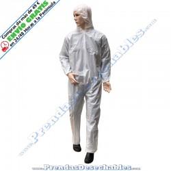 Mono PP TNT Plastificado Blanco con Capucha