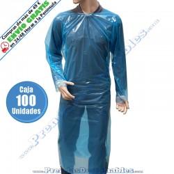 Bata Poncho de Polietileno Azul con Cintas - Frente - 100