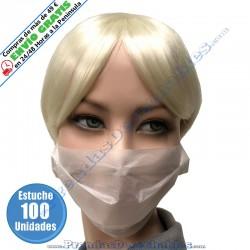 Mascarilla Simple 1 Capa Papel Blanco - Frente - 100