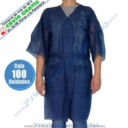 Bata Kimono PP TNT Azul con Cierre y con Bolsillo - Frente - 100