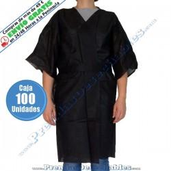 Bata Kimono PP TNT Negro con Cierre y con Bolsillo - Frente - 100
