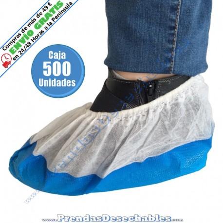 Cubrezapatos suela reforzada PP TNT + CPE Blanco y Azul - 500